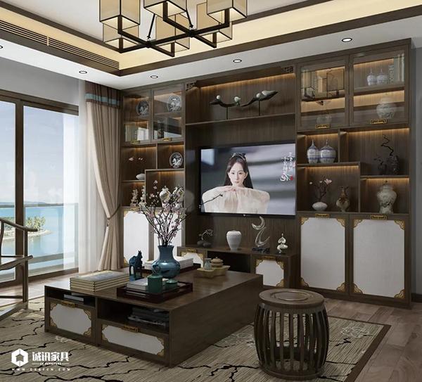 重庆优德W88体育w88优德官网:新中式系列全屋定制电视柜展示